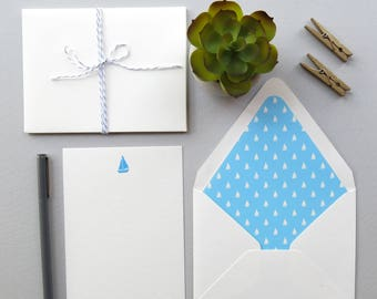 Sailboat Stationery - Set of Four - Nautical Note Cards - Traveler's Stationery - Blue and White Sailboats