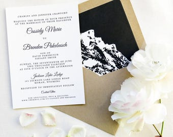 Mountain Wedding Invitation Suite - Rustic Wedding in the Mountains - Black, White and Kraft