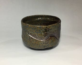 Wood fired matcha chawan, Japanese teabowl, woodfired with natural ash glazes. Pottery, ceramic, tea ceremony.