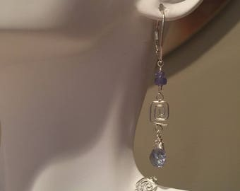 Tanzanite and Sterling Silver Dangle Earrings