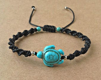 Turtle Bracelet, Turquoise Howlite Turtle, Adjustable Bracelet, Turquoise Howlite Beads, Black Satin Cord, Gift For Her, Gift For Women,
