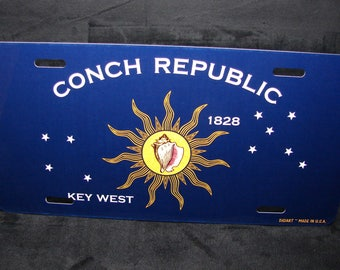 CONCH REPUBLIC FLAG Key West Florida Metal Novelty License Plate For Cars