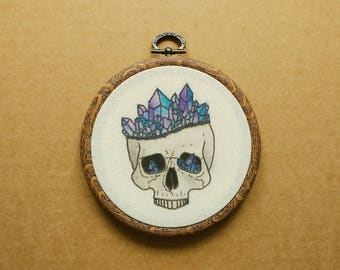 Crystal Skull Hand Embroidery Hoop Art (modern hand embroidery wall hanging - amethyst - anatomy - tattoo embroidery)