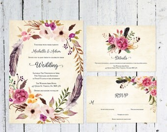 Wedding Invitation Set, Boho Wedding Invitation, Vintage, RSVP Card, Details Card, Printable, Watercolor, Wedding Suite, Rustic, Printable