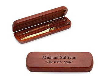 Personalized Pen & Letter Opener Gift Set - Custom Engraved Pen Set - Wooden Pen Set - Graduation Gift - Rosewood Pen - Birthday Present