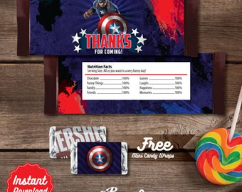 Captain America Candy Bar Wrapper, Printable candy bar wrap,  Captain America Birthday decoration, Captain America Labels, Superheroes Party