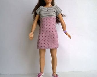 Purple polka-dotted Lammily dress with gray stretch insert in the front