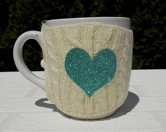 glitter heart gift, take out coffee sleeve, knitted coffee warmer, coffee mug sweater, coffee sleeve, coffee cozy, stocking stuffer