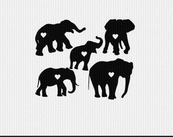 elephant heart svg dxf jpeg png file stencil monogram frame silhouette cameo cricut clip art commercial use