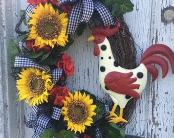 Country Farm Rooster Wreath with Sunflowers and Geraniums