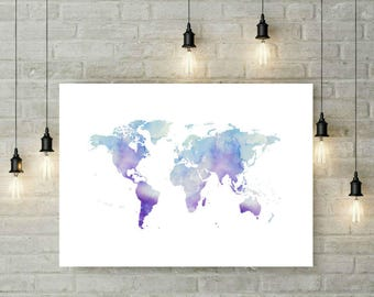 Blue world map printable watercolour world map print navy world map printable poster wall art print blue watercolour world map home decor blue map world gumiabroncs Images