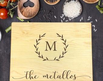 Custom Cutting Board - Engraved Cutting Board, Personalized Cutting Board, Wedding Gift, Housewarming Gift, Christmas Gift, Initial, B-0022