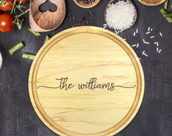 Custom Cutting Board Round - Engraved Cutting Board, Wedding Gift, Personalized Gift, Housewarming Gift, Anniversary Gift, Christmas, B-0004
