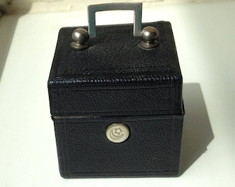 Charming Square Antique Travelling Inkwell shaped like Vanity case