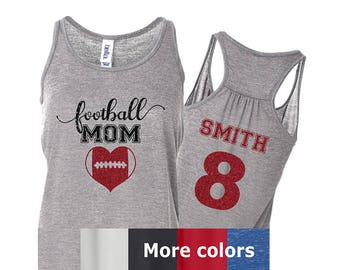 Football Mom Glitter Flowy Tank, Choose Colors, Optional Player Name/Number on Back, Bella Football Tank, Football Mom Shirt, Player Number