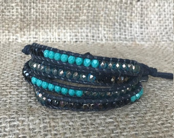 Black and Turquoise Wrap Bracelet