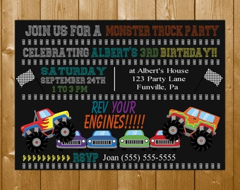 Monster Truck Invitation, Boy Party Invitation, Birthday Party Invitation with Monster Trucks Free Thank You Note