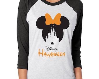 Disney CASTLE halloween SHIRT, Disney Halloween baseball tee, Disney inspired, Minnie Halloween shirt, Mickey's not so scary halloween party
