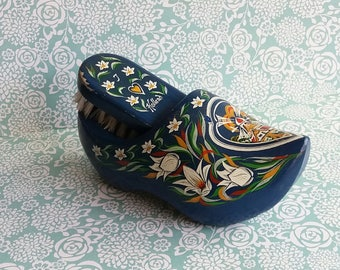 1960s Vintage Blue Clog and Clothes Brush Set - Souvenir from Holland - Wall Mount - Hand Carved Folk Art