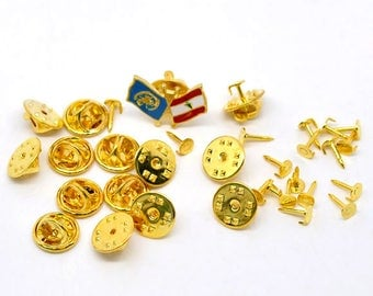 Supports brooches/pins gilded with customize 4 mm