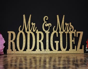 Custom Name Sign. Mr and Mrs Wood Sign. Mr & Mrs Wood Cut Out Name. Wood name sign. Personalized Last Name Sign. Laser cut name Wedding Sign
