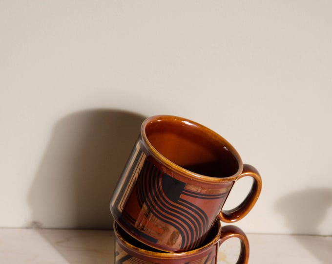 Vintage ceramic mugs. Vintage pottery. Brown cups, midcentury