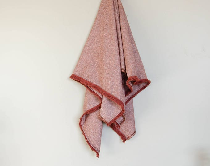 Handmade burgundy throw blanket with matching trims
