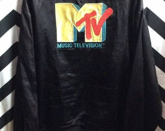 SOLD! SOLD OUT! Do not purchase!  Satin button up Jacket - Silky - Mtv Logo Full Back Design