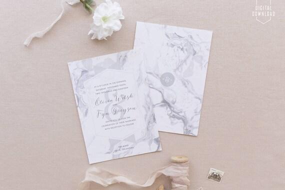 Modern Wedding Invites Uk: Modern Marble Wedding Invitations Printable Wedding