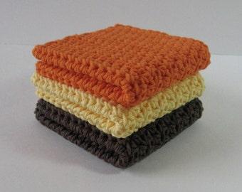Crochet Dishcloths, Kitchen Dishcloth Set, Autumn Dishcloths, Cotton Dish Cloths, Crochet Dishrags, Washcloth Set, Housewarming, Bridal Gift