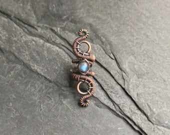 Labradorite Oxidised Copper Dreadlock Jewelry