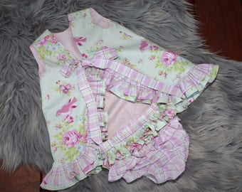 baby girls dress and nappy cover