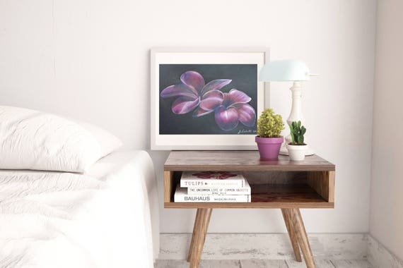 Frangipani flowers drawing, black paper, elegant and romantic gift idea for her, traditional decoration for bedroom or living room, wall art