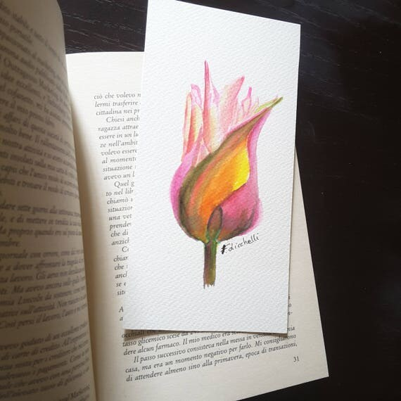 Artistic bookmark with tupil, little picture to hang, original watercolor by Francesca Licchelli, gift idea for boho girls who loves reading