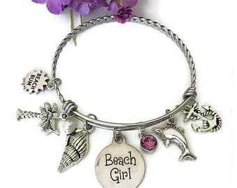 Beach Girl Charm Bracelet, Beach Bum, Beach Lover Gifts, Beach Charm Bangle, Beach Jewelry