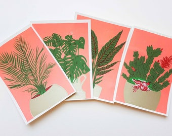 House Plant Set - A5 Screen Prints
