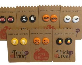 Halloween earrings, Skull earrings, Pumpkin earrings, Ghost earrings, Candy corn earrings, Stud earrings, Fun earrings, Biggie bead earrings