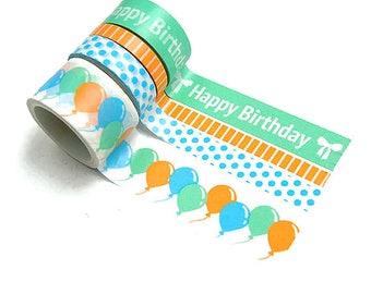 4 Washi tapes set, skinny washi tape lot of 4, masking tape, planner supplies,balloons washi tape, Happy Birthday washi tape, slim washi
