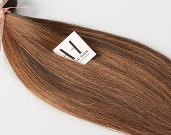 Balayage Clip in hair Extensions color #2 and #4/ 120grams Full head set of Genuine European human hair, Re-usable guaranteed!