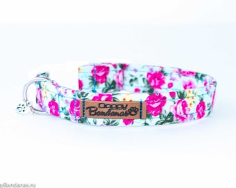Floral Dog Collar Vintage Flowers Dog Collar Fancy Girl Dog Collar Female Cute Dog Collar Preppy Girly Dog Collar Spring Provence Dog Collar
