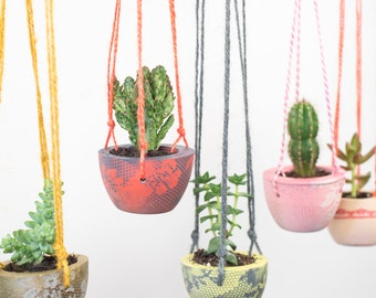 printed hanging planter u2013 plant pot u2013 hanging planter u2013 indoor planter u2013 concrete planter u2013