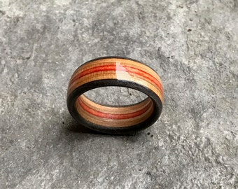 Wood Ring (Custom-fit) | Recycled Skateboard Ring | Wooden Jewellery