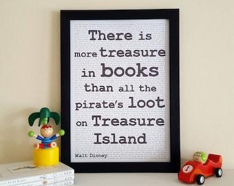 A4 Treasure Island Print - Monochrome Walt Disney Quote - Children's Literature Wall Art - Reading Nook Decor - Gift for Book Lovers