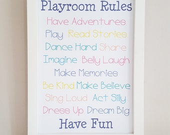 Playroom Rules Sign Print - Rainbow Playroom Rules - Kids Rules Sign - New Home Gift - Children's Playroom Wall Decor - Playroom Wall Art