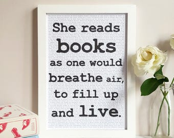 Literary Gift for Her - Annie Dillard Quote - Bookish Valentine's Gift - Book Quote Print - Home Library Wall Decor - Reading Nook Poster
