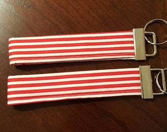 Red and White Stripes key fob