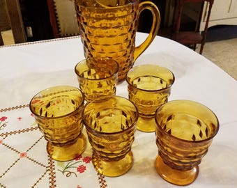 Vintage Mid Century Amber Pitcher and 5 Footed Tumblers in Whitehall Amber Pattern by Colony