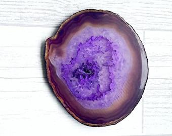 Agate slice, agate coaster, agate crystal, purple agate slice, large agate slice, drinks coaster, agate crystal