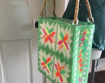 Geometric crochet bamboo handle bag