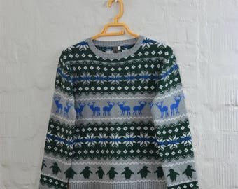 SALE! Vintage kids Grey sweater 13-14 yrs height 158cm sweater little boys christmas top baby cardigan